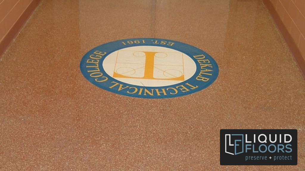 Industrial Flooring Epoxy Flooring Decorative Quartz Logo By Liquid Floors in Atlanta GA Tech Logo