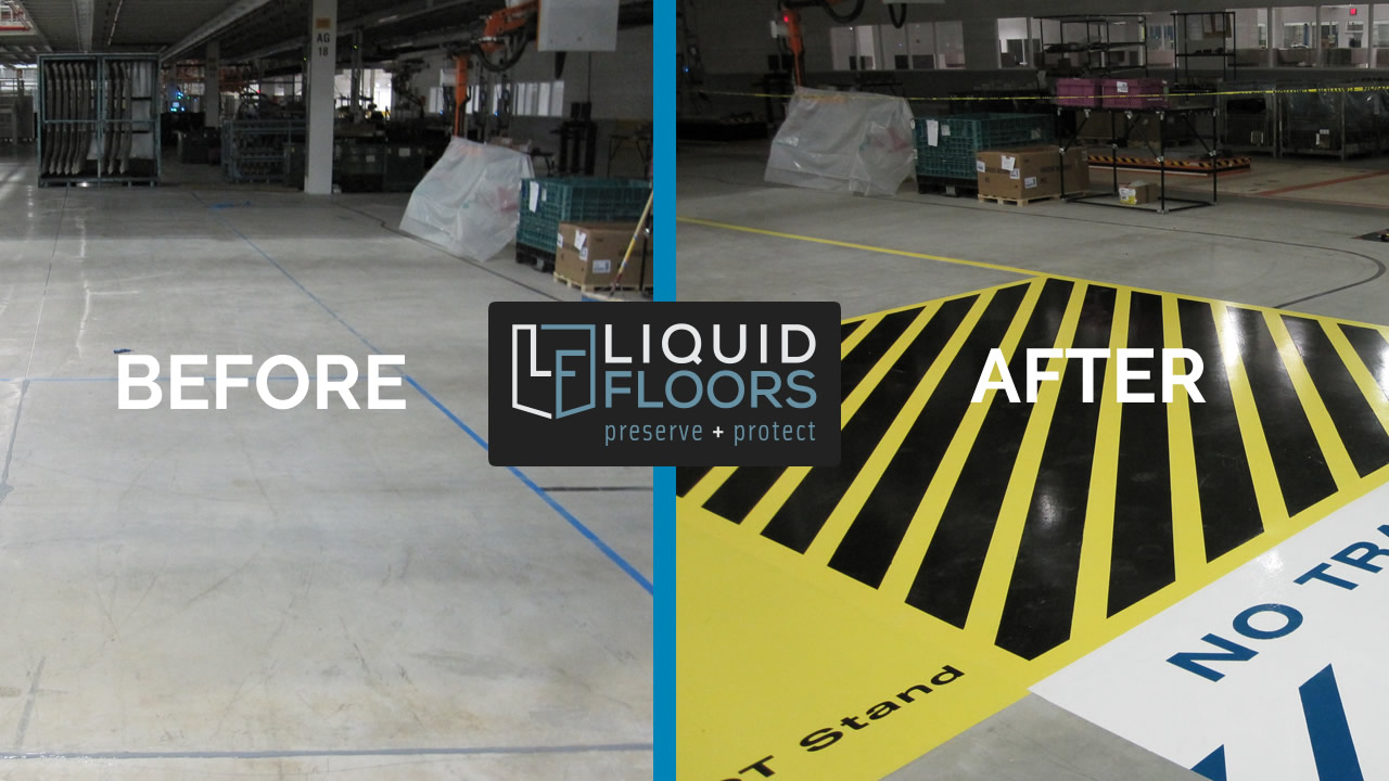 Line Striping Installation Epoxy Flooring By Liquid Floors at BWM Greer South Carolina AFTER