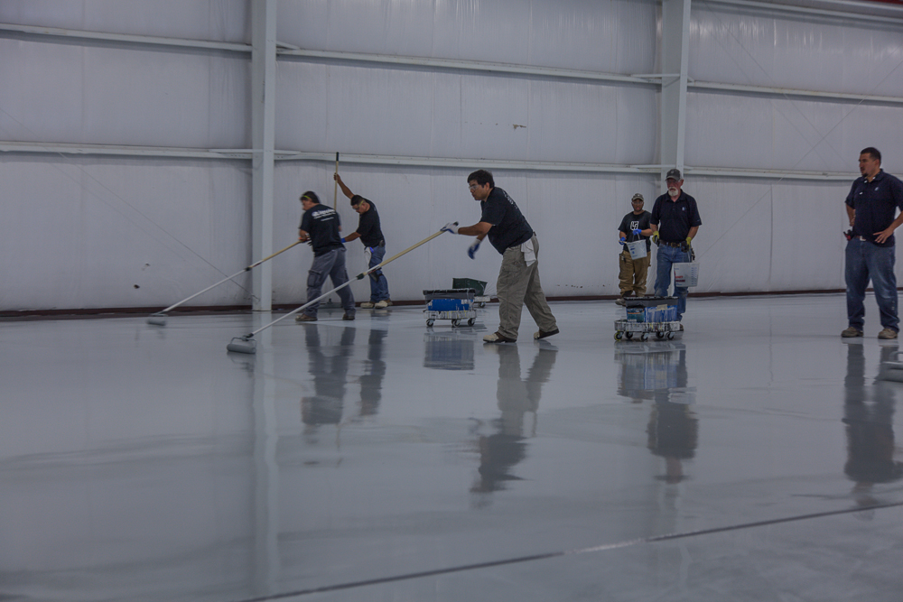 installation of concrete polishing and epoxy coating